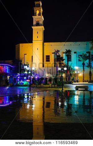 Night View Of The St. Peter Church, In The Old City Of Jaffa