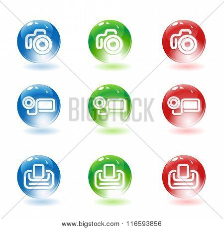 Photo video cameras and printer icons