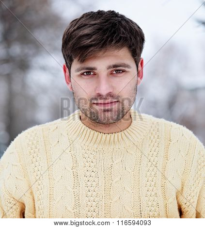 man in a knitted sweater