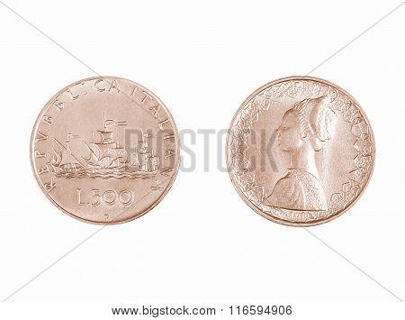 Italian 500 Lire Coin Vintage