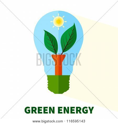Stylized Green Energy  Lightbulb