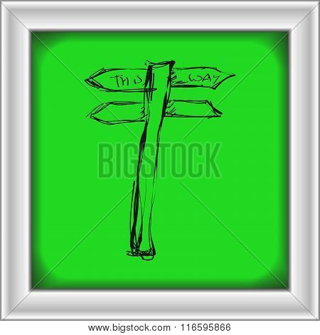Simple Doodle Of A Signpost