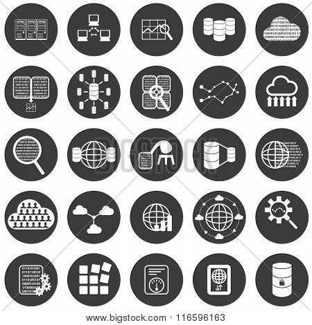 Big data icon set with 25 different circular icons in white