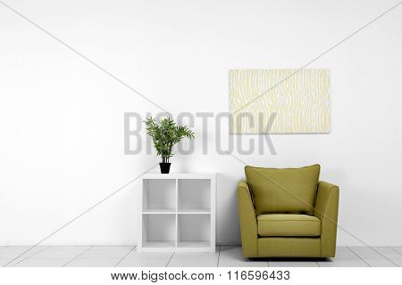 Living room interior with green armchair, white shelf and plant on white wall background