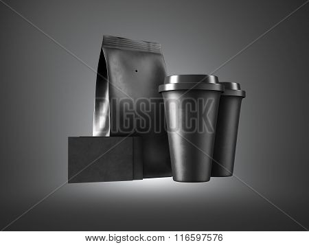 Set of paper package, coffe cups and two blank business cards. 3d render