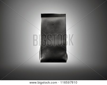 Black paper package for bulk products, coffee, nuts. Dark background. Horizontal front view. 3d rend