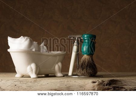 Shaving Equipment On Wooden Table And Vintage Background