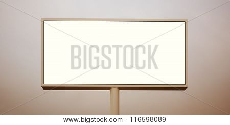 Blank billboard at sunset time ready for advertisement. Wide, abstract background. 3d render