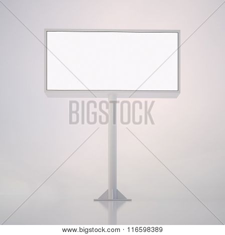 Blank white billboard with space for your advertisement against abstract background. 3d render