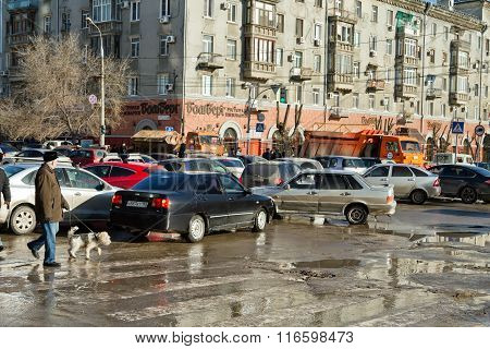 Shortness Of Traffic On The Street Soviet From The Overlap Of The Central Waterfront During An Air S