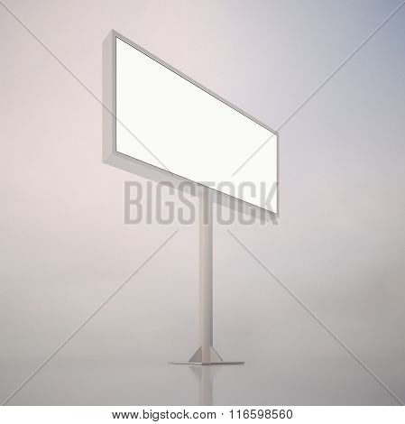 Big blank white billboard with space for your advertisement, against abstract background. Vertical.