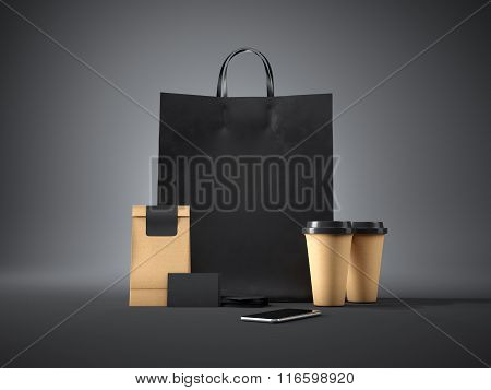 Set of black shopping bag, coffee cups, paper package, blank business cards and generic design smart
