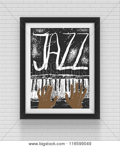 Jazz poster. Hand drawn vector illustration. Eps10