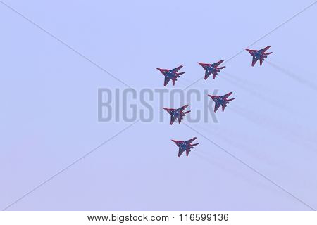 Perm, Russia - Jun 27, 2015: Six Mig 29 Fighter Planes Fly In Sky On Airshow Wings Of Parma