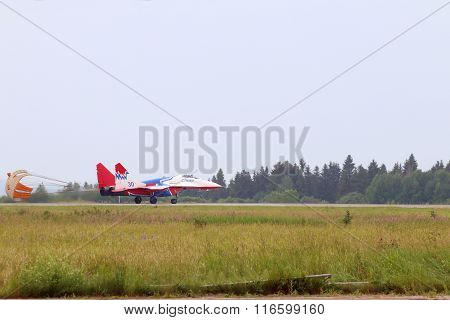 Perm, Russia - Jun 27, 2015: Landing Mig 29 Swift On Airshow Wings Of Parma