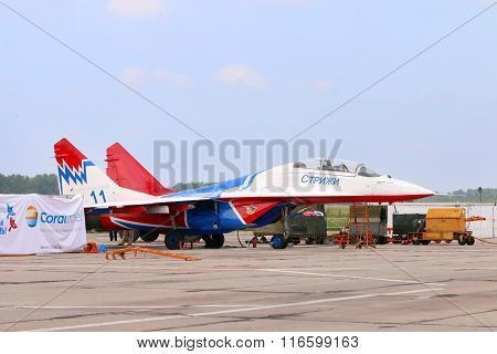 Perm, Russia - Jun 27, 2015: Military Aircraft On Land During Airshow Wings Of Parma
