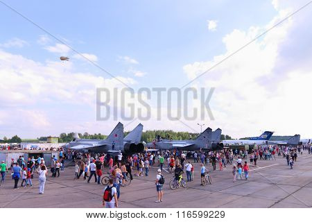 Perm, Russia - Jun 27, 2015: People Near Military Aircrafts During Airshow Wings Of Parma