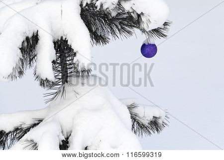 Christmas-tree Toy On A Snow-covered Tree