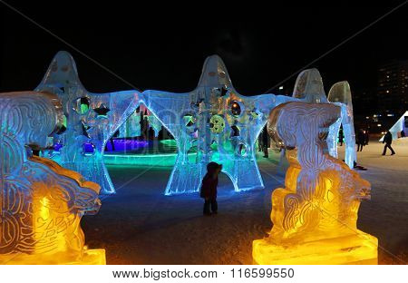 Perm, Russia - Jan 26, 2015: Ice Sculptures Stars With Illumination In Ice Town