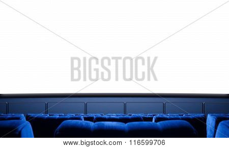 Empty cinema screen with blue seats. Ready for your advertisement. 3d render
