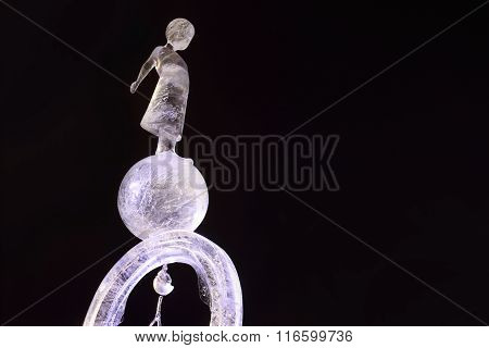 Perm, Russia - Jan 26, 2015: Ice Illuminated Sculpture Little Prince In Ice Town