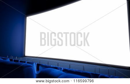Empty cinema screen with blue seats. 3d render