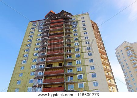 Perm, Russia - Feb 17, 2015: Part Of Residential Building Under Construction. In 2014 Residential Bu