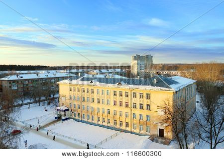 Old Yellow Building Of School At Sunny Winter Day In Perm, Russia