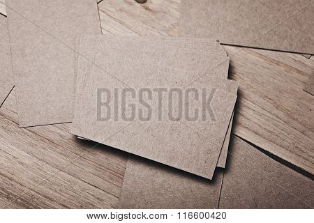 Set of blank businesscards on wood table. Horizontal