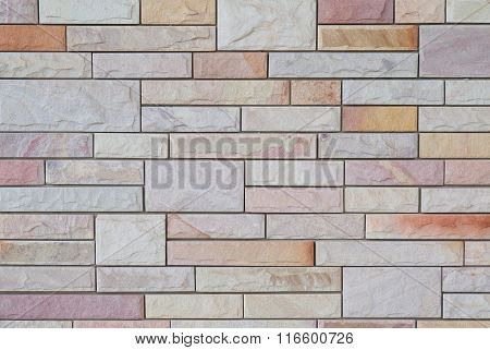 Exterior White And Brown Brick Wall, Textured Wall Background.