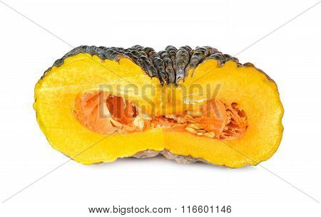 Half Cut Pumpkin With Shell And Seed On White Background