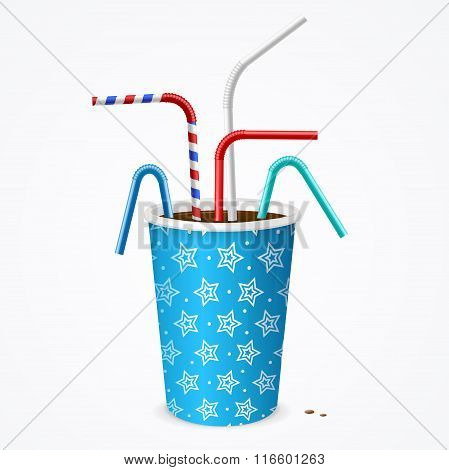 Drinking Straws and Blue Cup. Vector