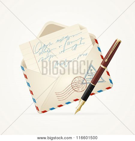 Letter Mail and Pen. Vector