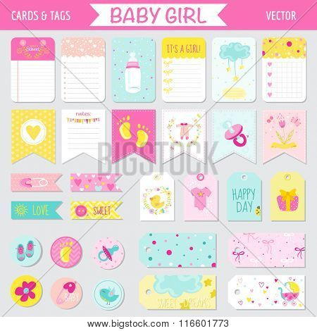 Baby Girl Shower or Arrival Set - Tags, Banners, Labels, Cards - in vector