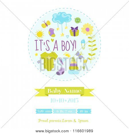 Baby Boy Shower or Arrival Card - with Baby Elements - in vector