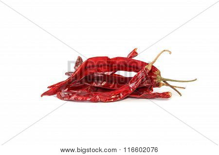 Dried red chili pepper on white background, Herb.