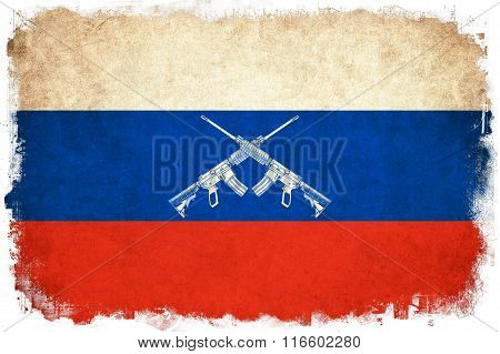 Russia Grunge Flag Illustration Of Country With Gun