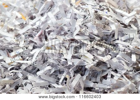 Closeup of shredded paper documents