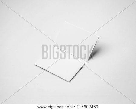 Empty business cards on a white background. Identity design, corporate templates, company style. Hor