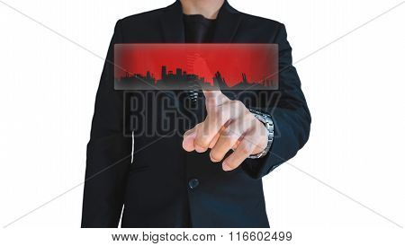 Businessman in casual suit push on red abstract digital screen, isolated on white background