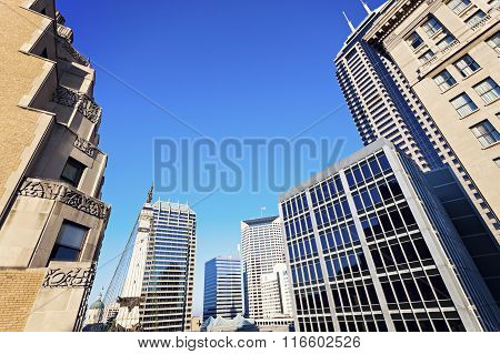 Indianapolis Architecture With State Capitol And Soldier And Sailors Monument