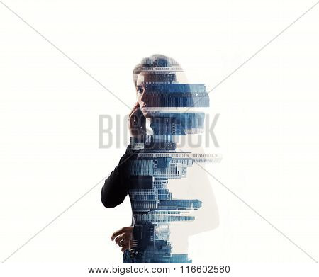Portrait of woman holding her smartphone in a hands. Horizontal, isolated, double exposure