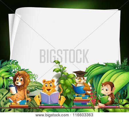 Border design with wild animals reading books illustration