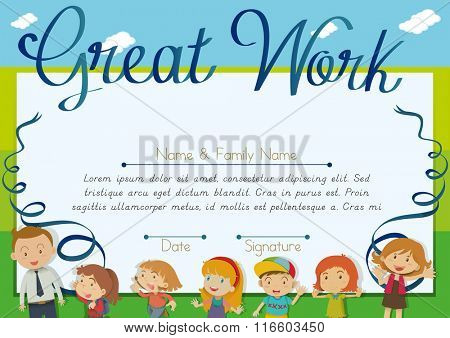 Certificate design with children and teacher background illustration