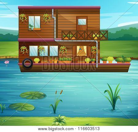 Boat house floating on the river illustration