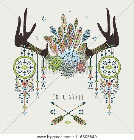 Vector deer horns with dream catchers
