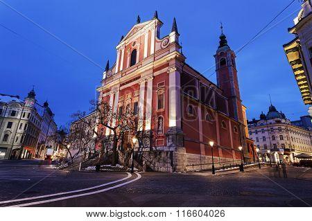 Franciscan Church And Preseren Square In Ljubljana