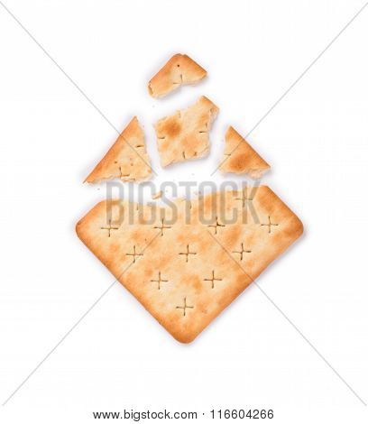 Rw Broken Crackers On An Isolated White Background