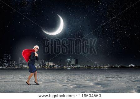 Santa woman with sack