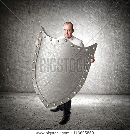 3d metal shield abstract background and businessman